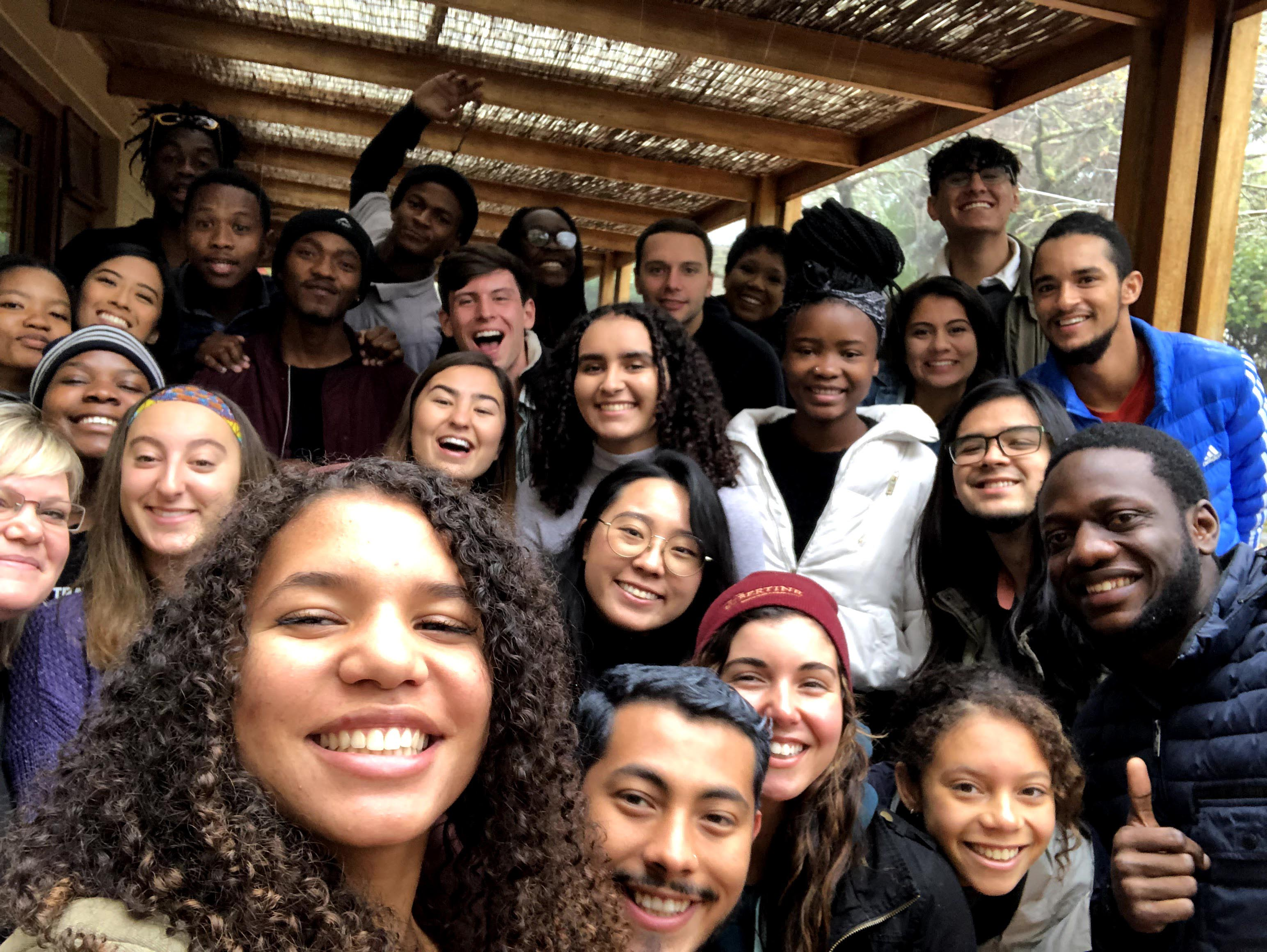 Cal Poly students, including Aurabel de Guzman Sandoc and Eliana Hollinger, pose for a group photo in Cape Town, South Africa