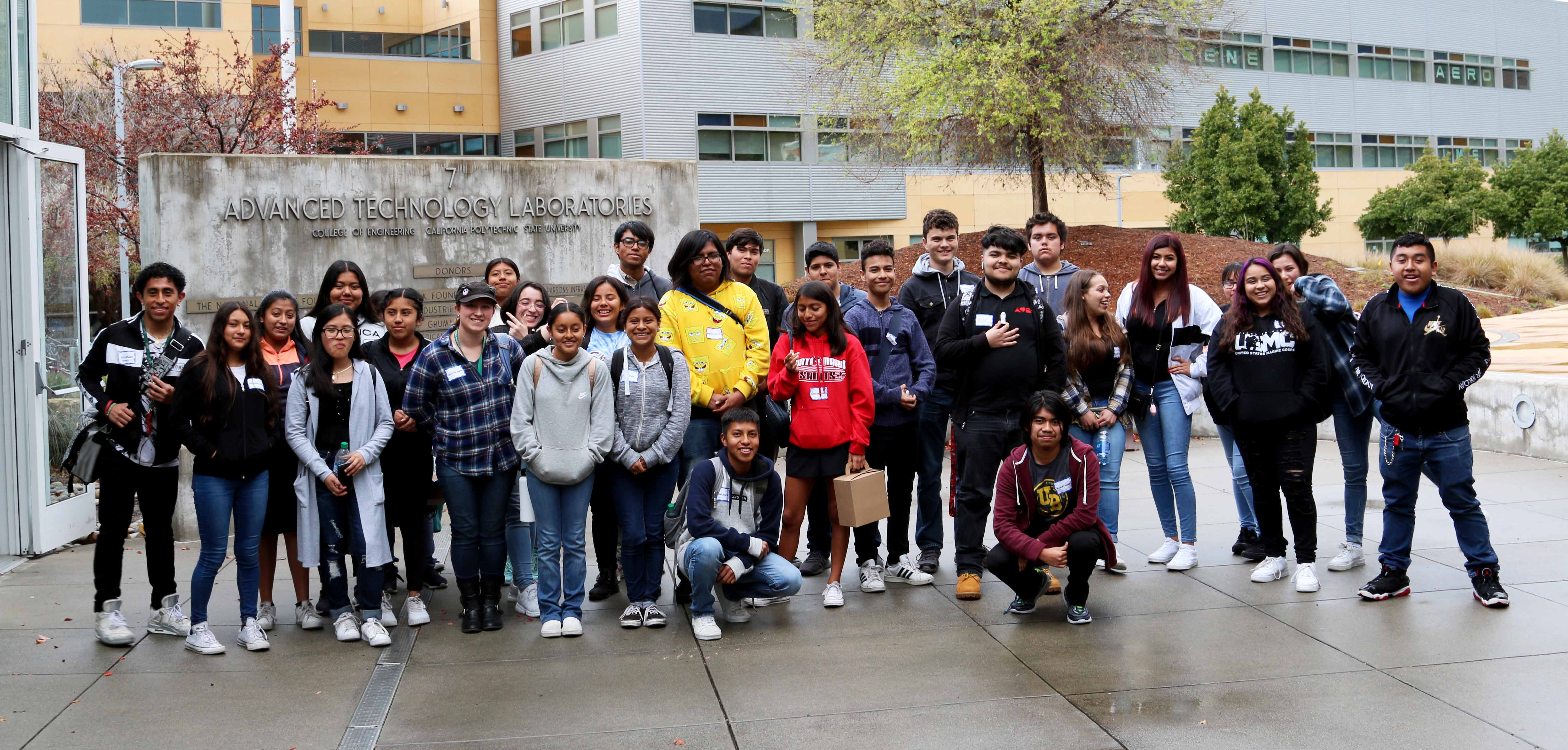 A group of students from Santa Maria visit Cal Poly to take part in a STEAM workshop.