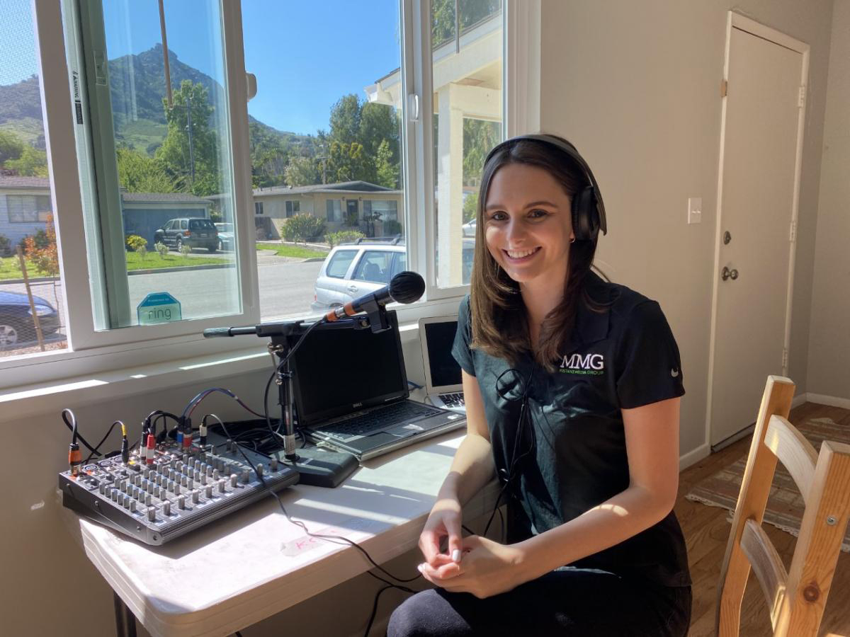 KCPR News Director Maya MacGregor at her home studio in San Luis Obispo in April