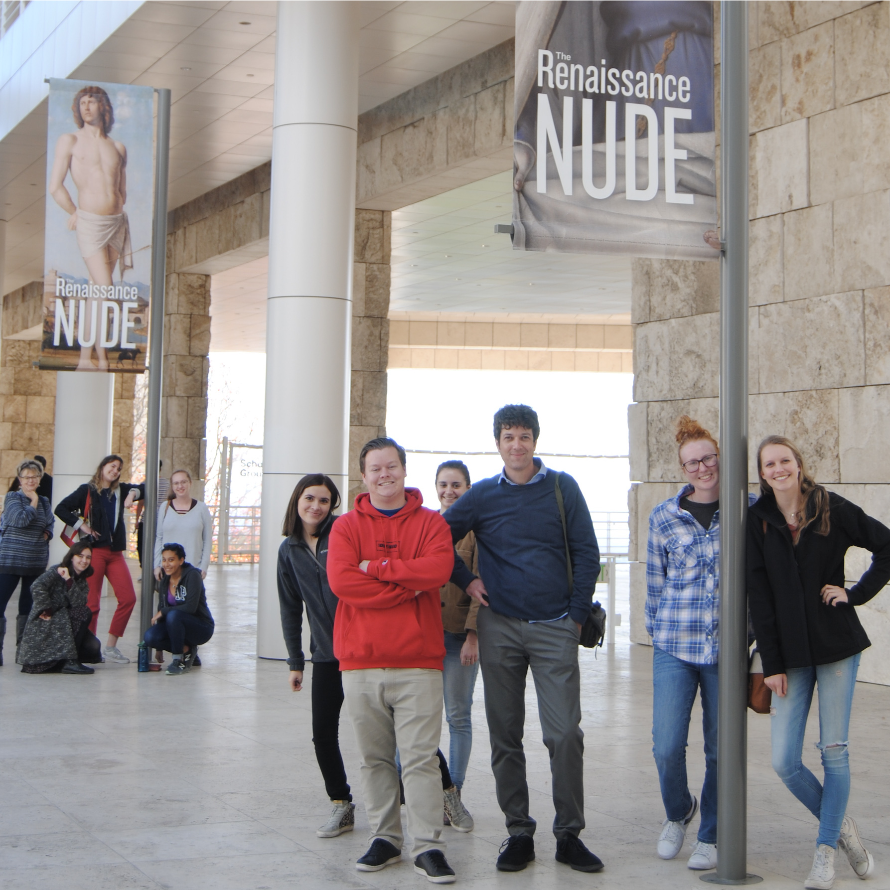 Cal Poly ART students in front of Renaissance Nude Getty Exhibit
