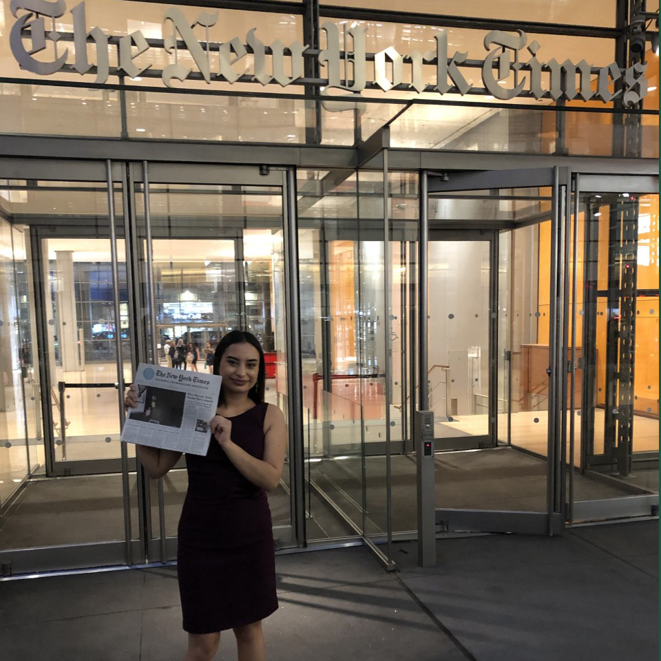 Isabella Paoletto in front of New York Times office