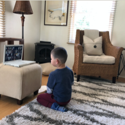 student in Preschool Learning Lab's virtual sessions
