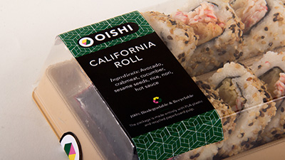 Oishi sushi packaging