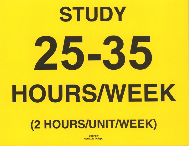 Study 25-35 hours per week sign