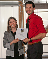 Student receiving scholarship