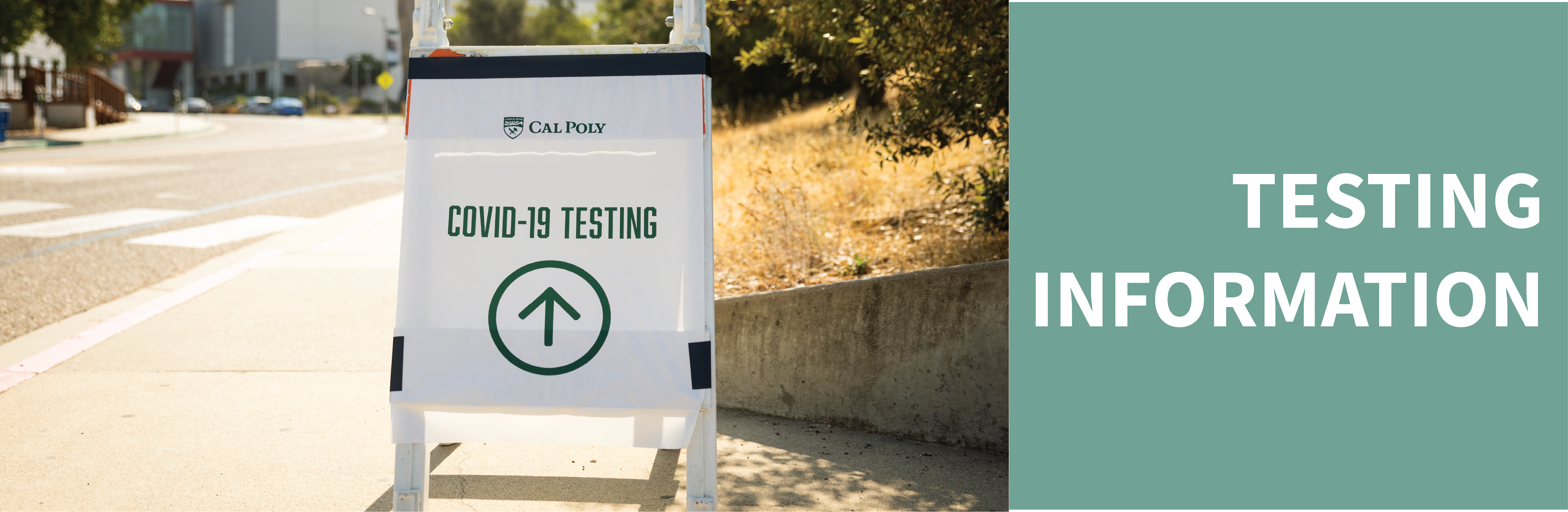 Testing Information and Sandwich board with text that says Covid Testing