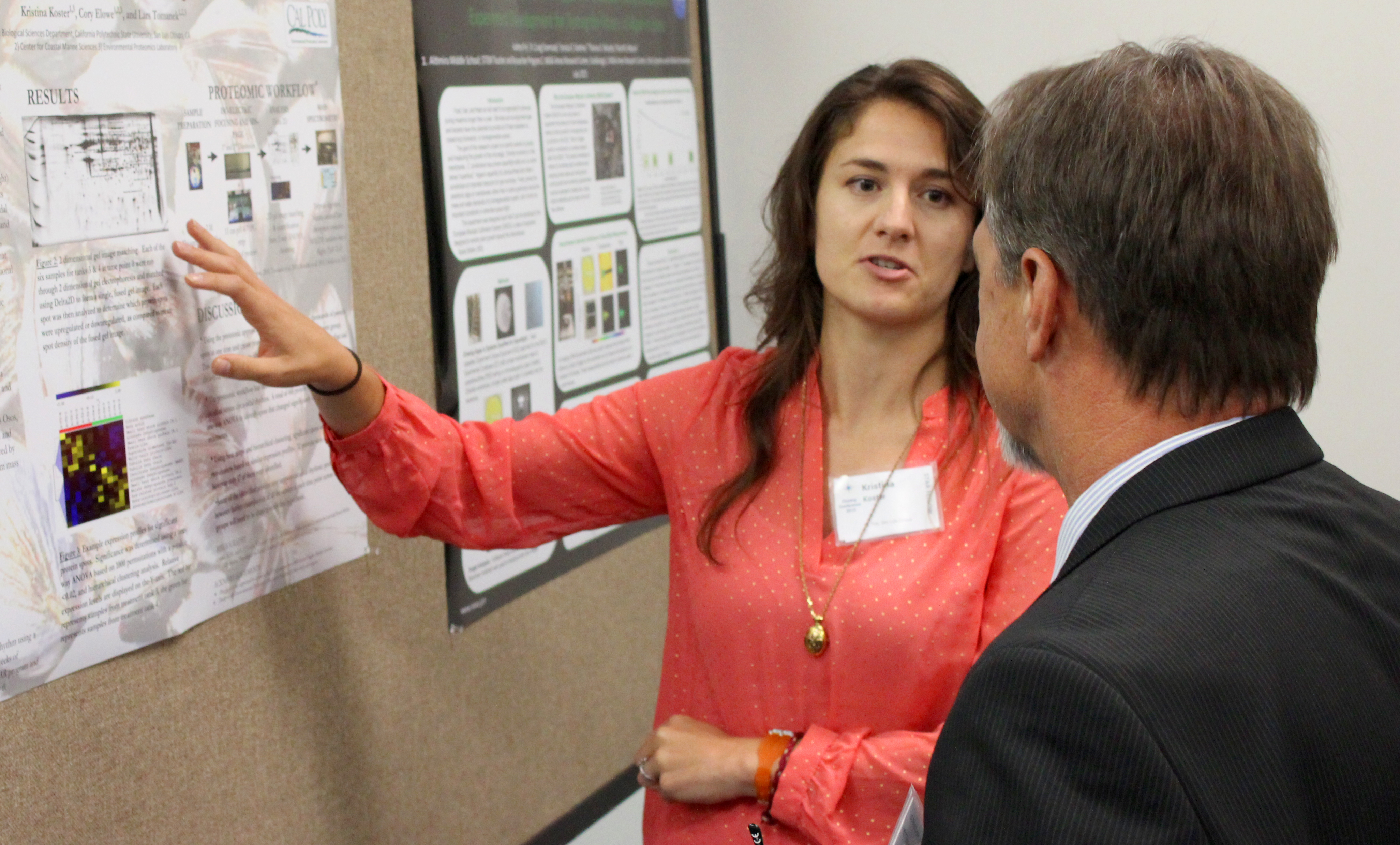 Student interacts with researcher