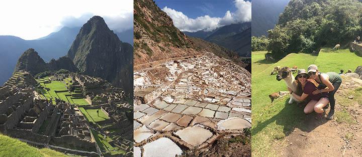 Machu Picchu; salt flats in Maras, Peru; Elisabeth Marciano (left) and Lia Arambula with a friendly llama