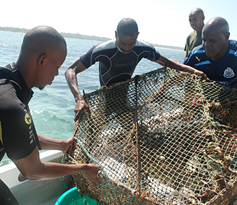 Fishers and Kenya Wildlife Service Senior Warden tagging fish