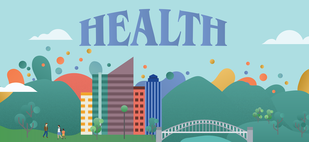 "Illustration of the word ""Health"" above a city"