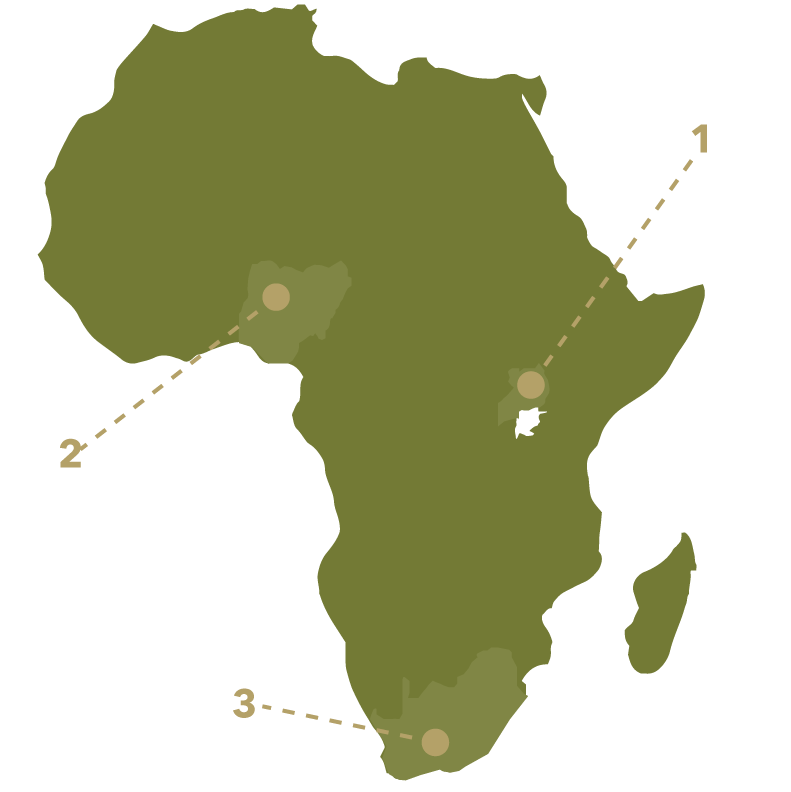 A map of Africa with three points marked on it. Each point is labeled 1-3.
