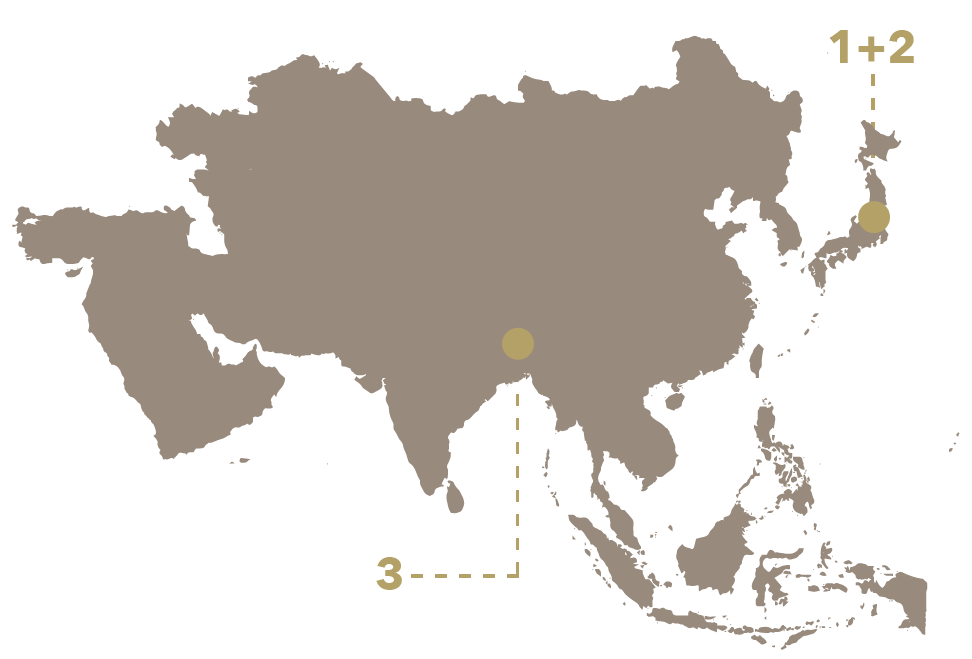 A mono-colored map of Asia is labled with two points. Each point is marked 1-3, with one point being labeled 1 and 2.