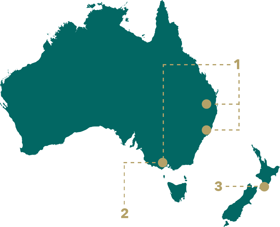 A mono-colored map of Australia with 3 dots labeled 1-4, with one dot being 3 and 4