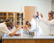 Students wait for reaction in chemistry lab