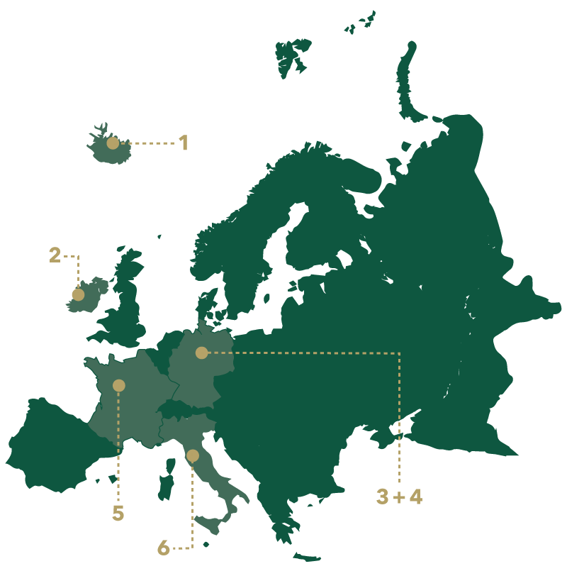 A solid green map of Europe with six dots on labeled 1-6.