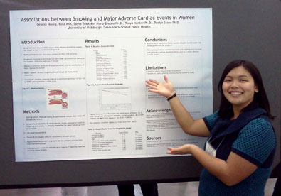 Debbie Huang in front of her poster