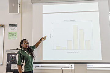 Woman points to projector screen with a bar graph