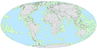 Map of the world with areas of the ocean near land colored green and other areas colored blue