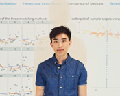 Jimmy Wong in front of his data analysis graphs