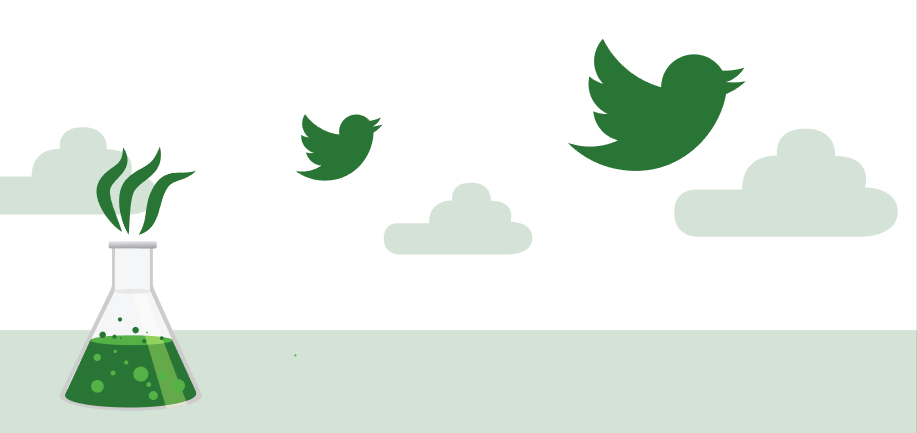 Beaker from which twitter logos are ascending