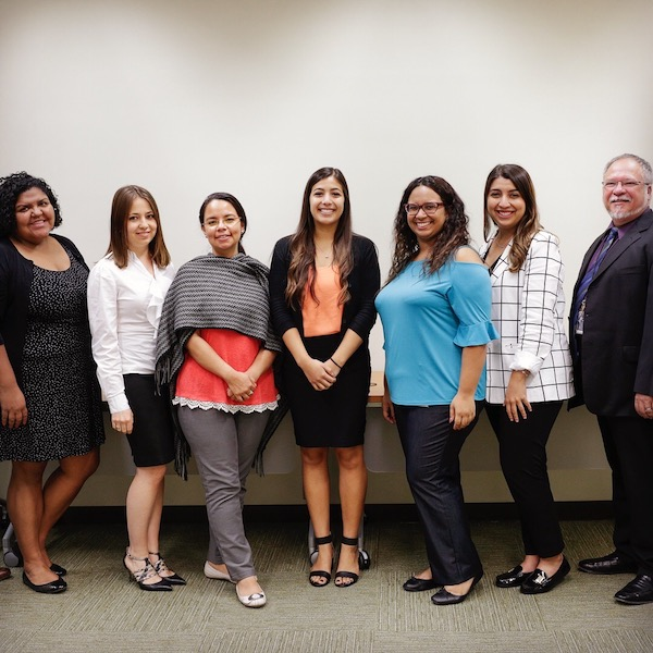 Stephanie Mendoza (center) and her fellow interns celebrate the end of a successful summer at the Library of Congress. The Hispanic Association of Colleges and Universities sponsors the internship program.
