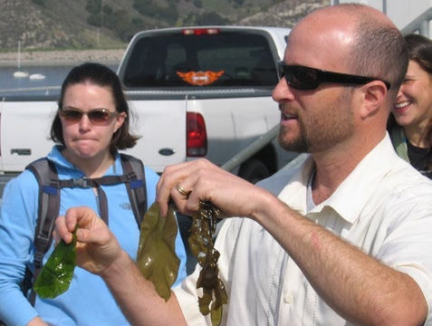 Wendt, then a biology professor, explains algae photosynthesis to a class at the Cal Poly Pier in 2003