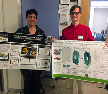 Alex Kemnitz and Noah Miller holding up their research posters