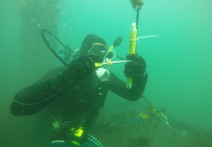 Diver underwater working on equipment