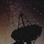 VERITAS telescope in front of the night sky