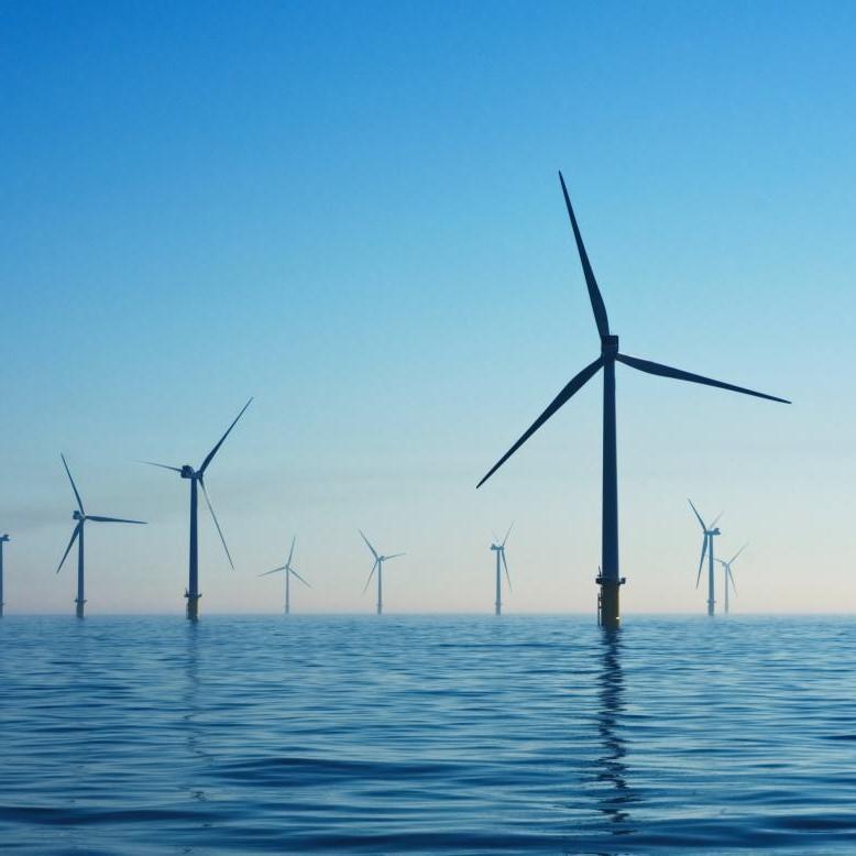 Windmills floating in the ocean