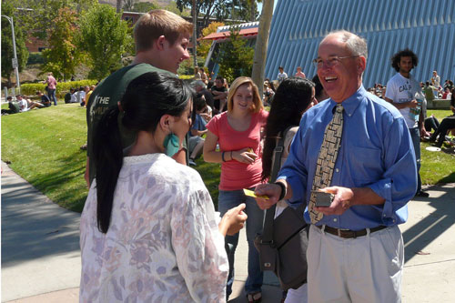 Dean Bailey greets students during WOW
