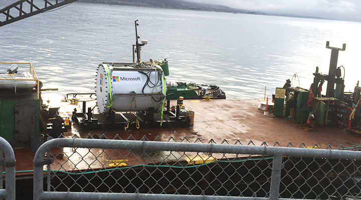 Brand new underwater test data center on a barge