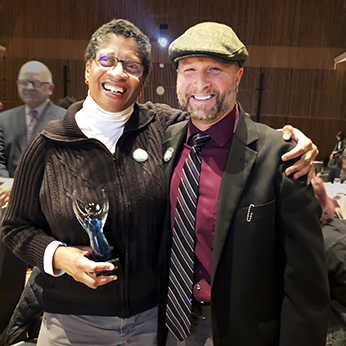 Associate Dean Camille O'Bryant, left, and Dean Wendt, dean of the College of Science and Mathematics photographed shortly after O'Bryant received the Cross Cultural Center's first MLK award.