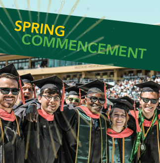 Cal Poly Students in cap and gown at commencement