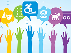 disability symbols hands raised