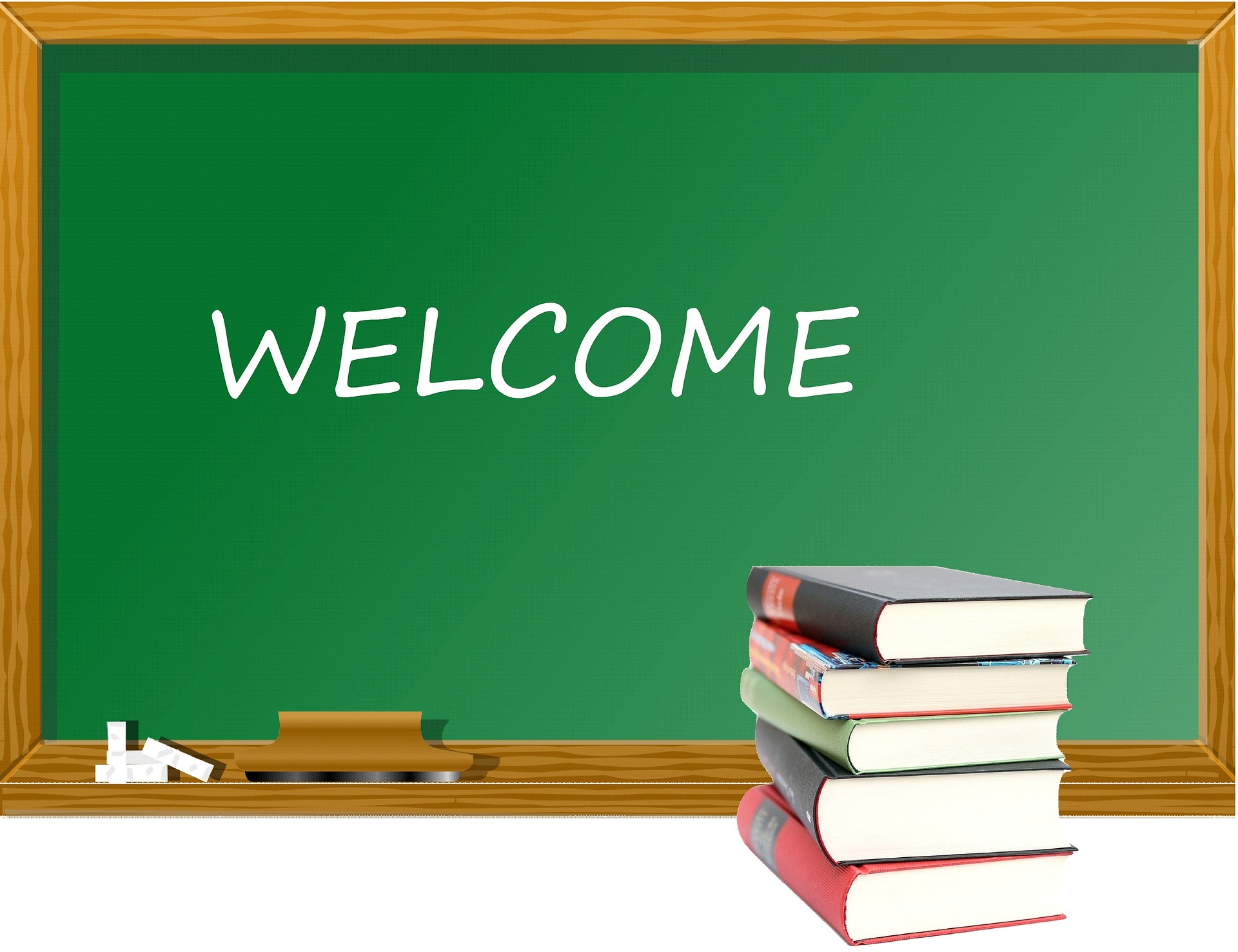 chalkboard with welcome