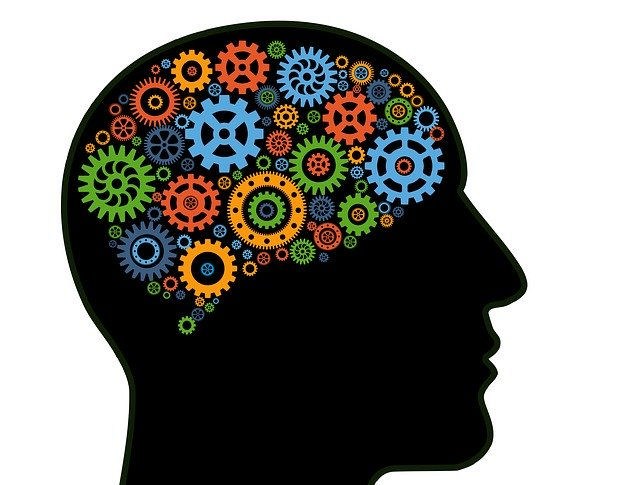 sillouette of head with colorful cogwheels for brain