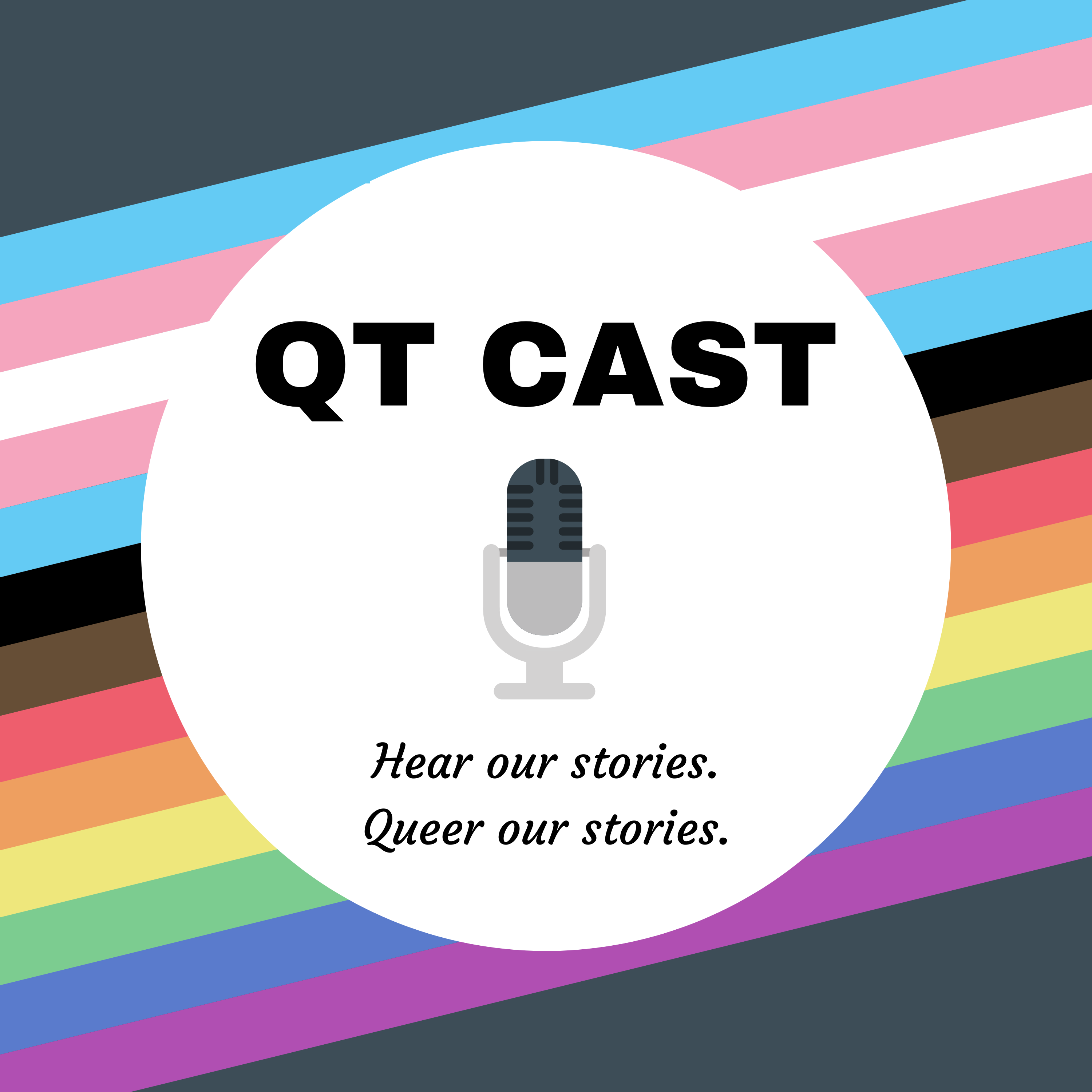 QT Cast Cover art featuring a microphone on a background with diagonal stripes in trans and queer pride colors