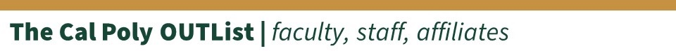 """Gold divider bar with the words """"The Cal Poly OUTList 