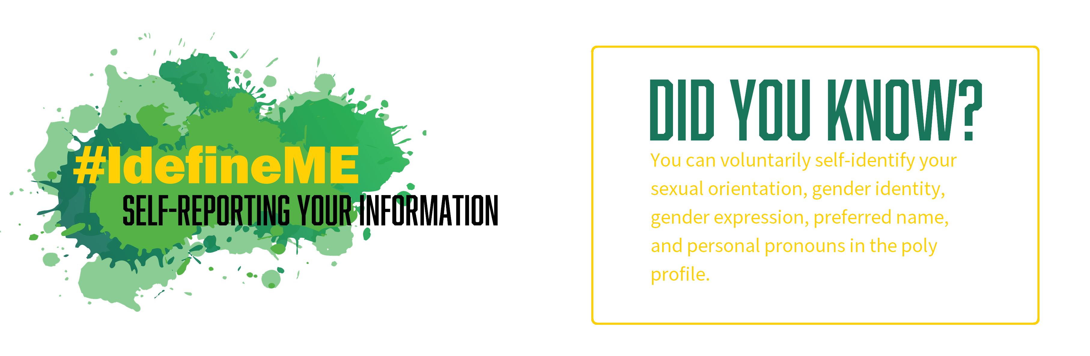 #IDefineME - self-reporting your information