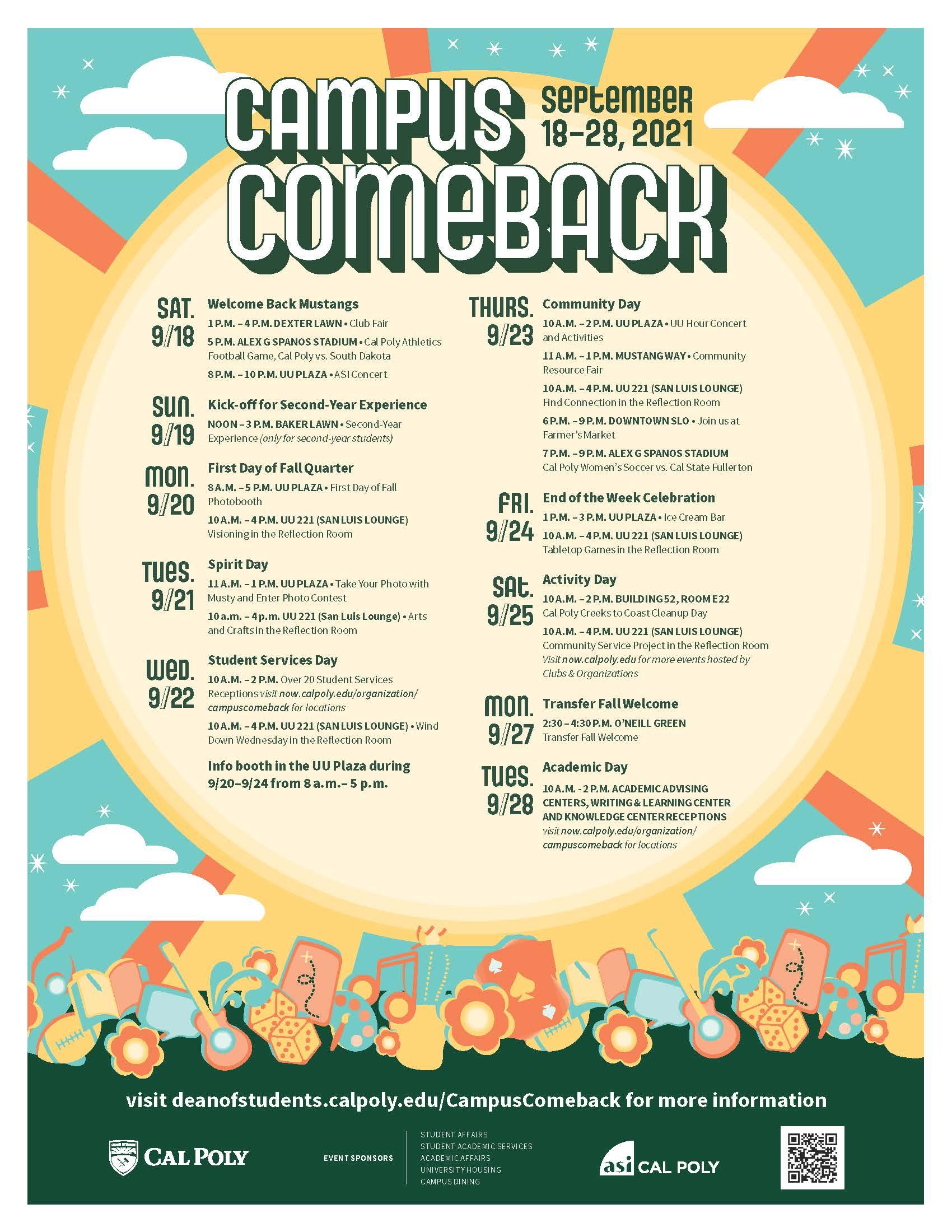 Campus Comeback schedule - click to download PDF
