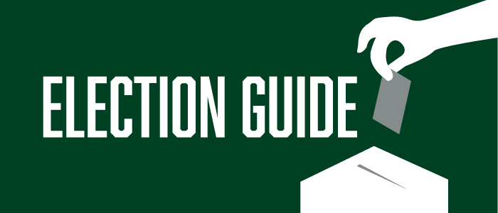 "Image is a green background with the text, ""Election Guide""."