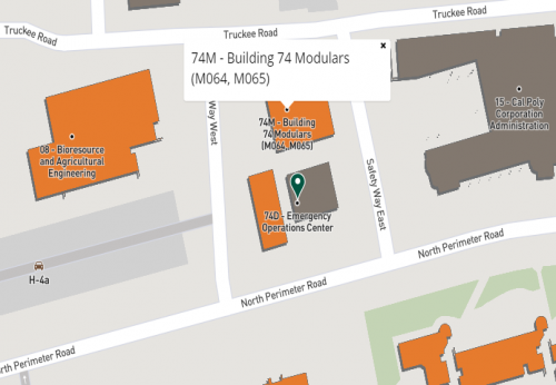 map to CAFES Advising in building 74M-A