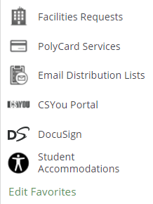 screenshot of Student Accommodations link at the bottom of the My Apps menu