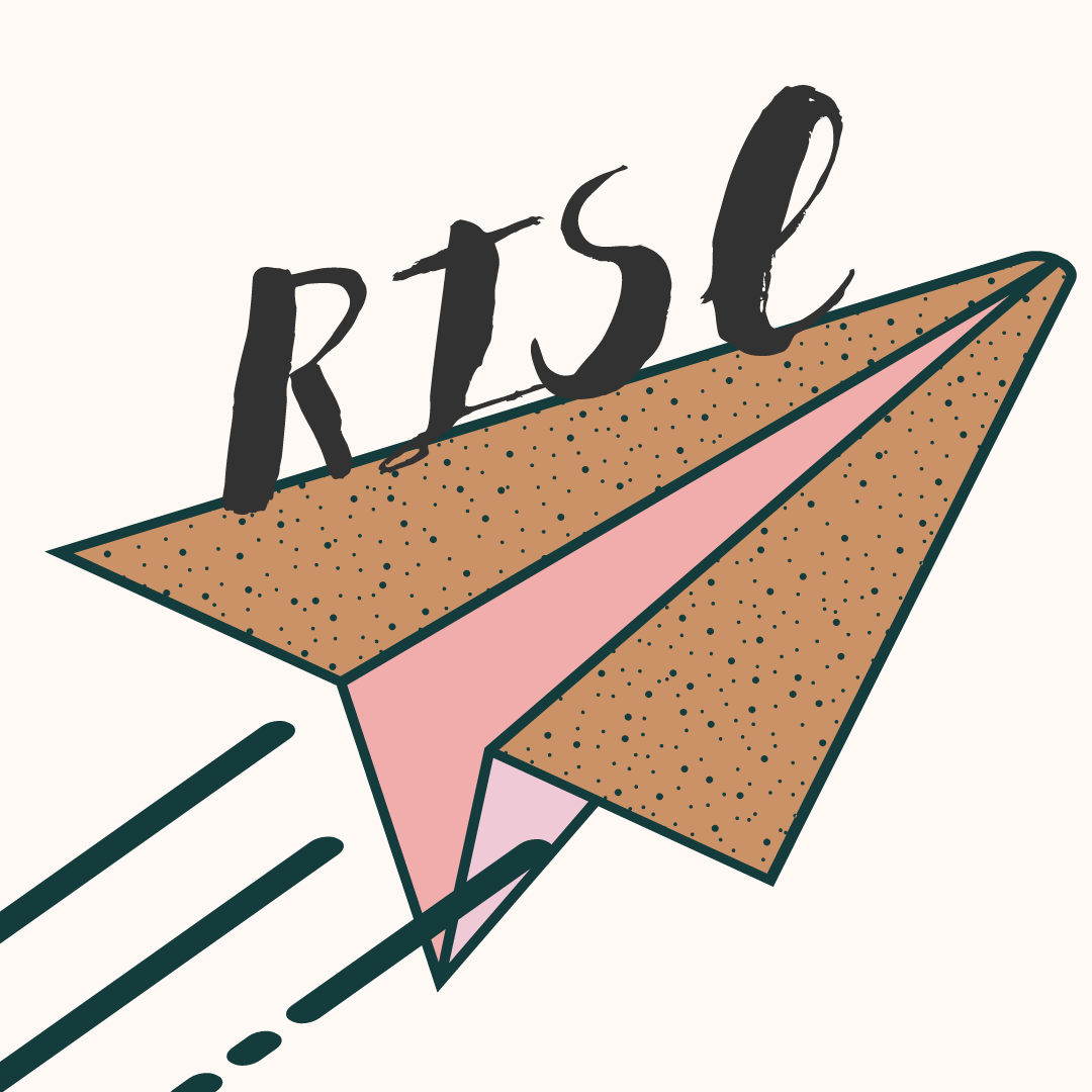 """a brown and pink paper airplane is flying with text that reads """"RISE"""""""