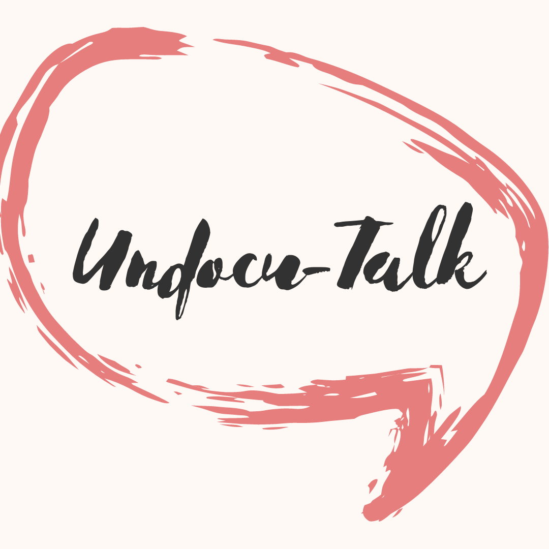 "pink text bubble that reads ""undocu-talk"""