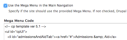 Use the Mega Menu in the Main Navigation check box, checked