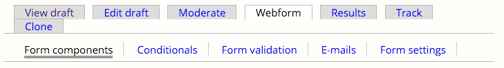 Webform and Form Components Tabs