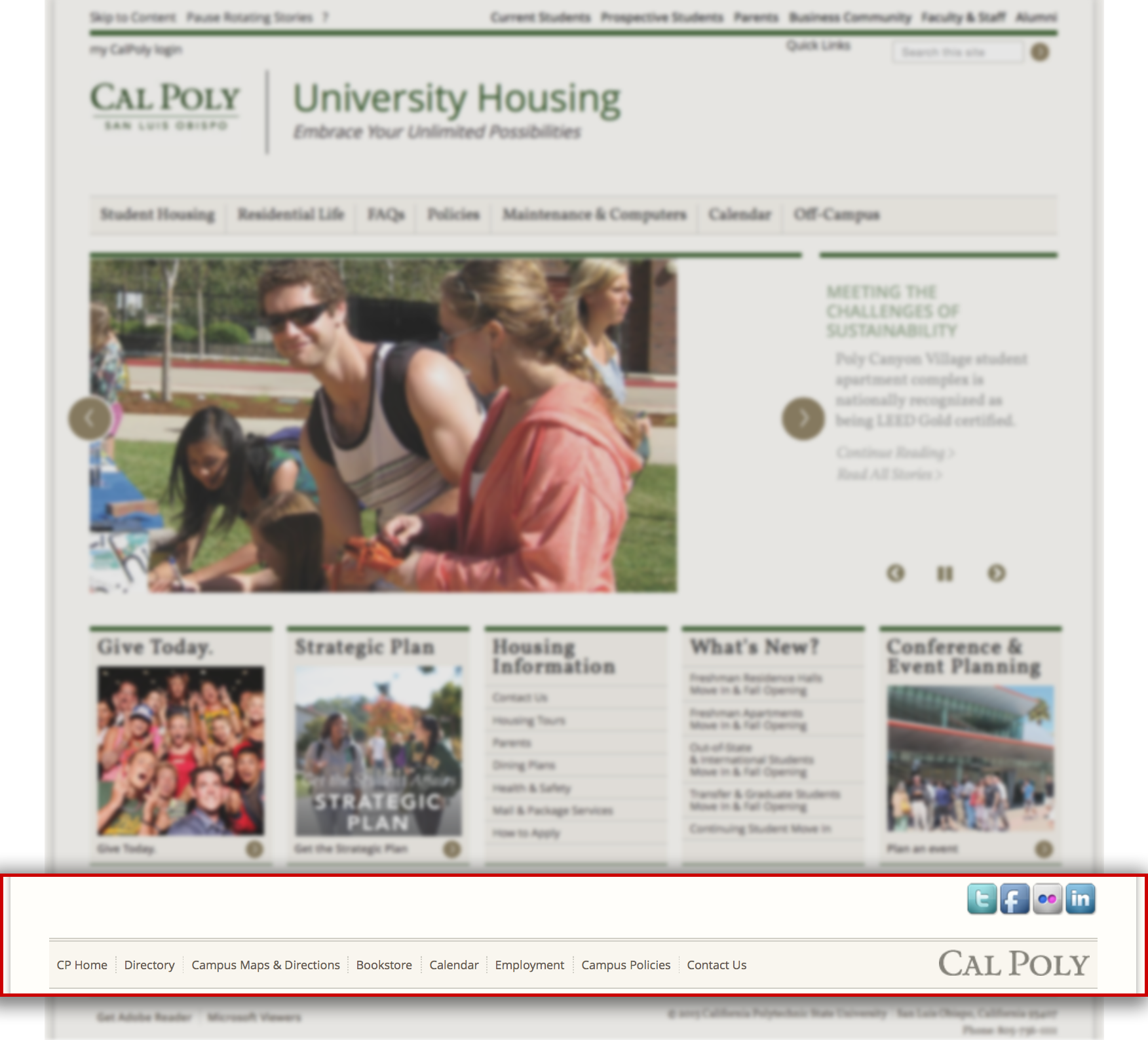 University housing home page with the highlighted footer.