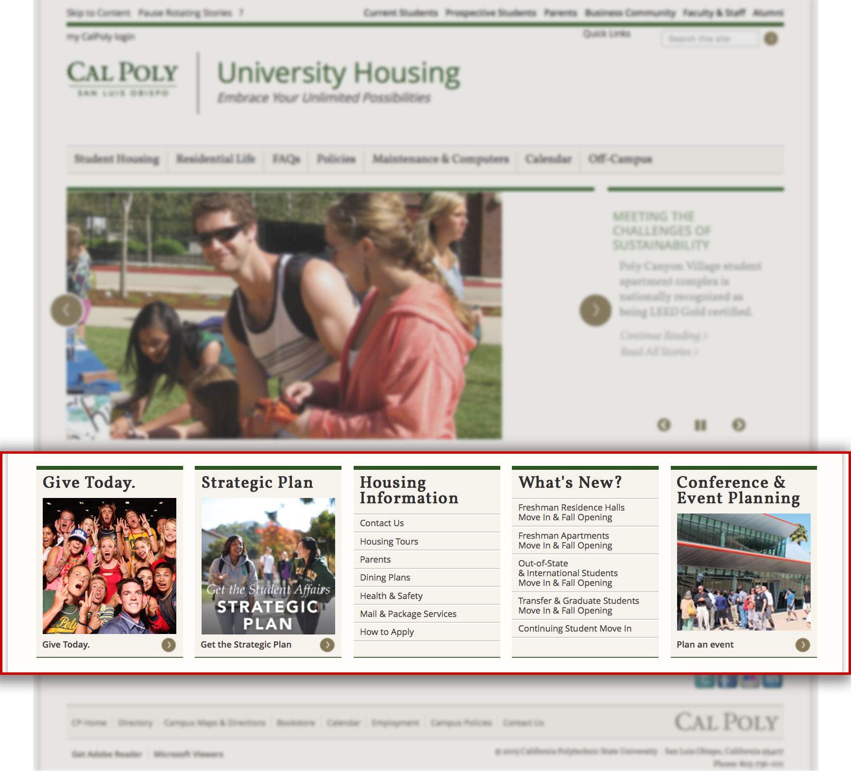 University housing home page with the highlighted header.